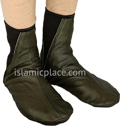 Olive Green - Elastic Slip-on Khuff Leather socks