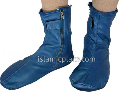 Denim Blue - Zip-up Khuff Leather socks