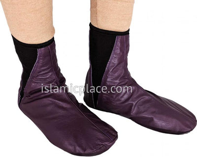 Plum - Elastic Slip-on Khuff Leather socks