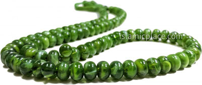 Green Marble - Tasbih Prayer Beads with Large Beads