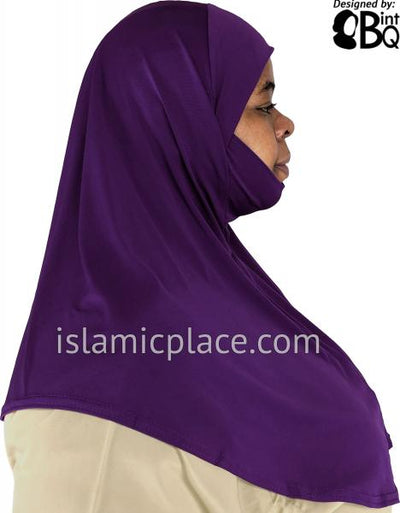Purple - Plain Teen to Adult (Large) Hijab Al-Amira with Built-in Niqab