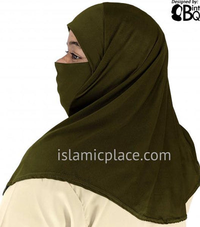 Olive - Plain Teen to Adult (Large) Hijab Al-Amira with Built-in Niqab