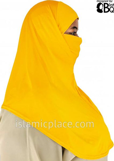 Gold - Plain Teen to Adult (Large) Hijab Al-Amira with Built-in Niqab