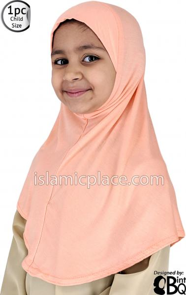 Peach - Plain Girl size (1-piece) Hijab Al-Amira