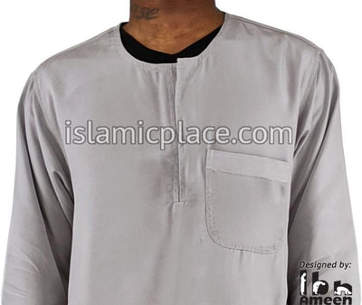 Silver Gray - Men Sudani Plain Kameez Kurta Shirt by Ibn Ameen