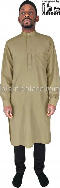 Cherry - Men Saudi Ad-Daffah Plain Kameez by Ibn Ameen