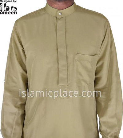 Dark Khaki - Men Saudi Ad-Daffah Plain Kameez by Ibn Ameen