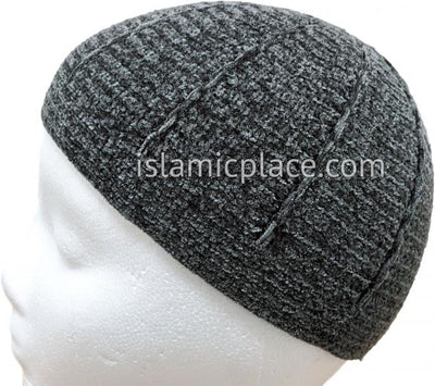 Charcoal Gray - Warm Chenille Knitted Mujahid Designer Kufi
