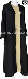 Black - Umayya Open Abaya with Intricate Buttons by BintQ - BQ316