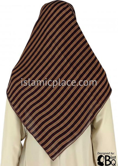 "Black And Red Lines on Brown Background - 45"" Square Printed Khimar"