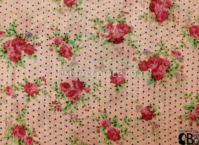 "Red Rose Bunches On Salmon - 45"" Square Printed Khimar"