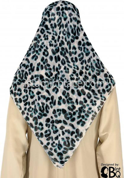 "Black And Teal Animal Design On White - 45"" Square Printed Khimar"