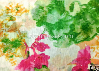 "Green, Pink, Peach And Yellow Floral Design On White - 45"" Square Printed Khimar"