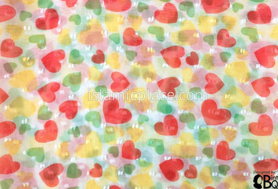 "Coral, Green, And Yellow Hearts On White - 45"" Square Printed Khimar"