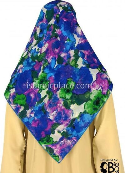 "Cobalt, Blue, Green, Fuchsia And White Floral Design  - 45"" Square Printed Khimar"