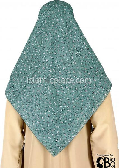 "White And Brown Flower Bunches On Light Green With Purple Dots - 45"" Square Printed Khimar"