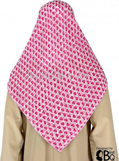 "Bubblegum And Fuchsia Heart In Heart Design On White - 45"" Square Printed Khimar"