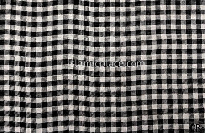 "Black And White Small Plaid Design - 45"" Square Printed Khimar"
