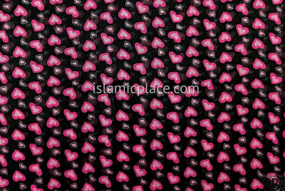 "Bubblegum And Pink Heart In Heart Design On Black - 45"" Square Printed Khimar"