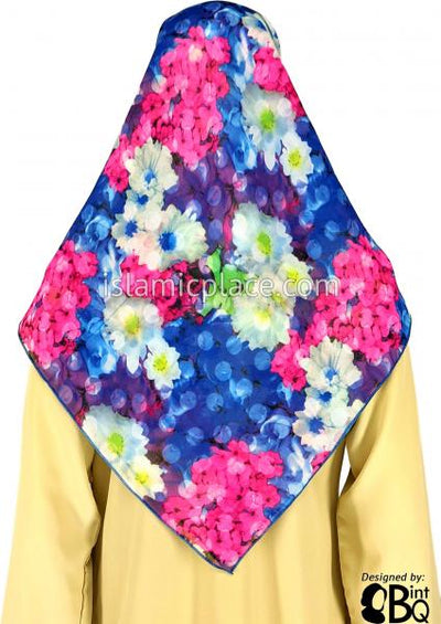 "Fuchsia, Blue, Purple, Green And White Bouquet - 45"" Square Printed Khimar"