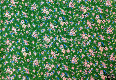 "Pink White And Blue Flower Bunches On Green - 45"" Square Printed Khimar"