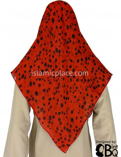 "Crimson Red with Black Spots Inspired by Cheetah Print - 45"" Square Printed Khimar"
