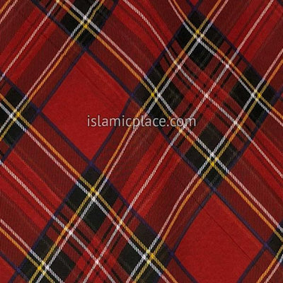 "Burgundy, Black, Yellow and White Plaid - 45"" Square Printed Khimar"