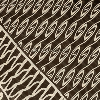 "Brown and Khaki Aztec Inspired Design - 45"" Square Printed Khimar"