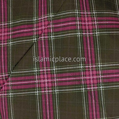 "Henna Brown, Pink and Green Plaid - 45"" Square Printed Khimar"