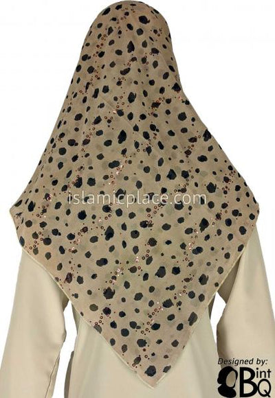 "Tan and Black Cheetah Inspired Print with Metallic Sparkles - 45"" Square Printed Khimar"