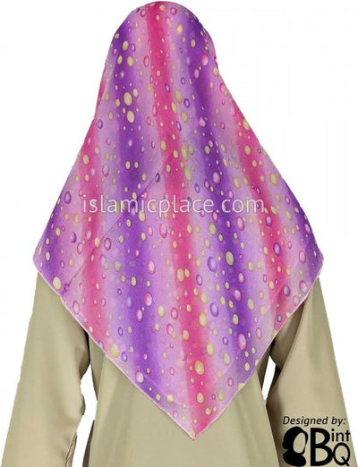 "Pink, Purple, Lavender and Yellow Bubbles Through Stripes - 45"" Square Printed Khimar"