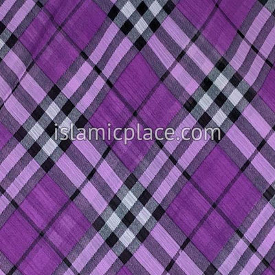 "Purple, Lavender, Black and White Plaid - 45"" Square Printed Khimar"