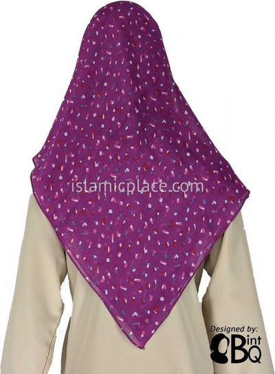 "Confetti including Hearts on Magenta - 45"" Square Printed Khimar"