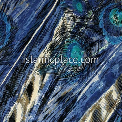 "Blue and Turquoise Peacock Feathers in the Wind - 45"" Square Printed Khimar"