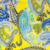 "Blue, Turquoise, Purple and Green Paisley on Yellow - 45"" Square Printed Khimar"