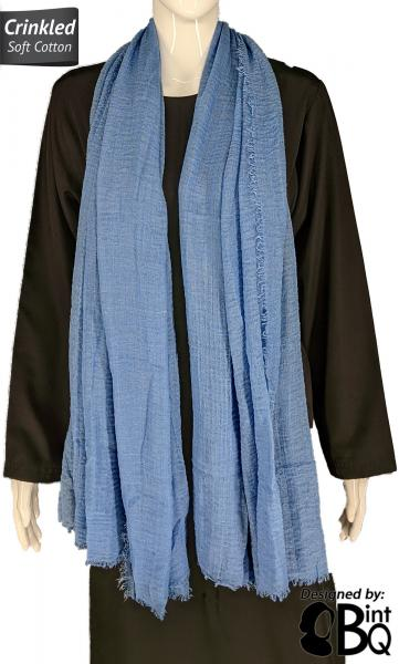 "Denim Blue - Plain Soft Crinkle Cotton Shayla Long Rectangle Hijab 36""x72"""