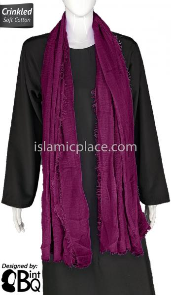 "Light Plum - Plain Soft Crinkle Cotton Shayla Long Rectangle Hijab 36""x72"""