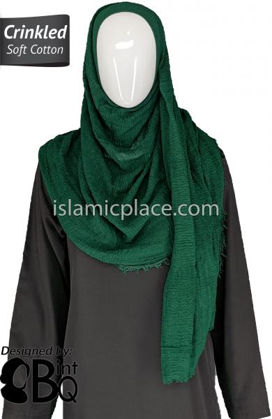 "Dark Green - Plain Soft Crinkle Cotton Shayla Long Rectangle Hijab 36""x72"""