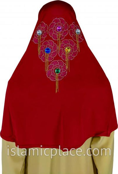 Red - Festive Hijab Al-Amira Teen to Adult (Large) - Design 6