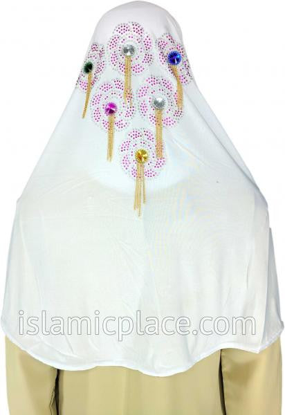 White - Festive Hijab Al-Amira Teen to Adult (Large) - Design 6