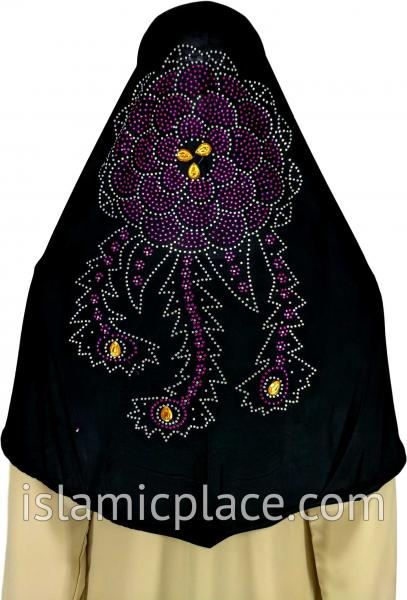 Black - Radiant Hijab Al-Amira Teen to Adult (Large) - Design 7