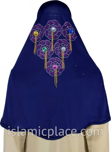 Navy Blue - Festive Hijab Al-Amira Teen to Adult (Large) - Design 6