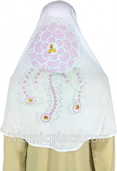White - Radiant Hijab Al-Amira Teen to Adult (Large) - Design 7