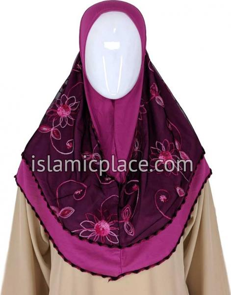 Fuchsia Pink and Cabaret Pink - Floral Sketch Hijab Al-Amira Teen to Adult (Large) - Design 9