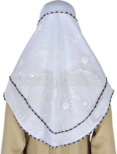 White - Floral Sketch Hijab Al-Amira Teen to Adult (Large) - Design 9