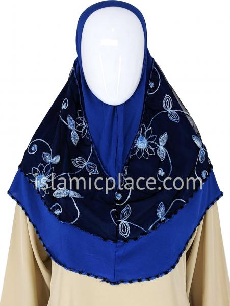 Royal Blue - Floral Sketch Hijab Al-Amira Teen to Adult (Large) - Design 9
