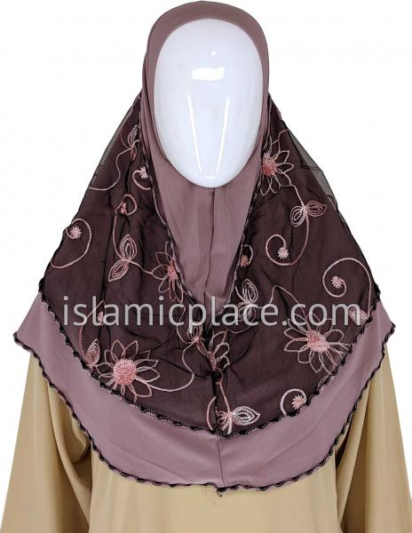 Mauve Pink - Floral Sketch Hijab Al-Amira Teen to Adult (Large) - Design 9