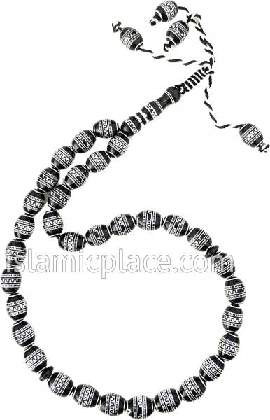 Black and Silver - Moroccan Design Tasbih Prayer Beads