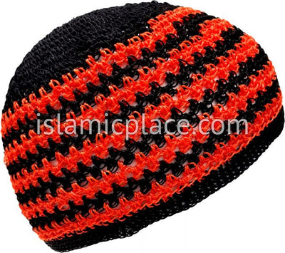 Black and Fiery Orange - Nylon Knitted Thin Stripes Kufi