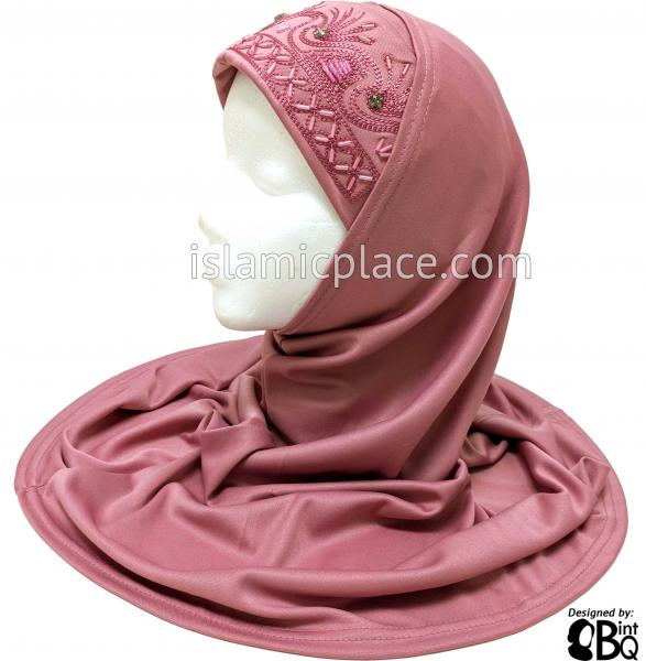 Raspberry Pink - Hand Beaded Hijab Al-Amira Teen to Adult (Large) - Design 8